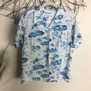 COLUMBIA tropical blue umbrella short sleeve shirt